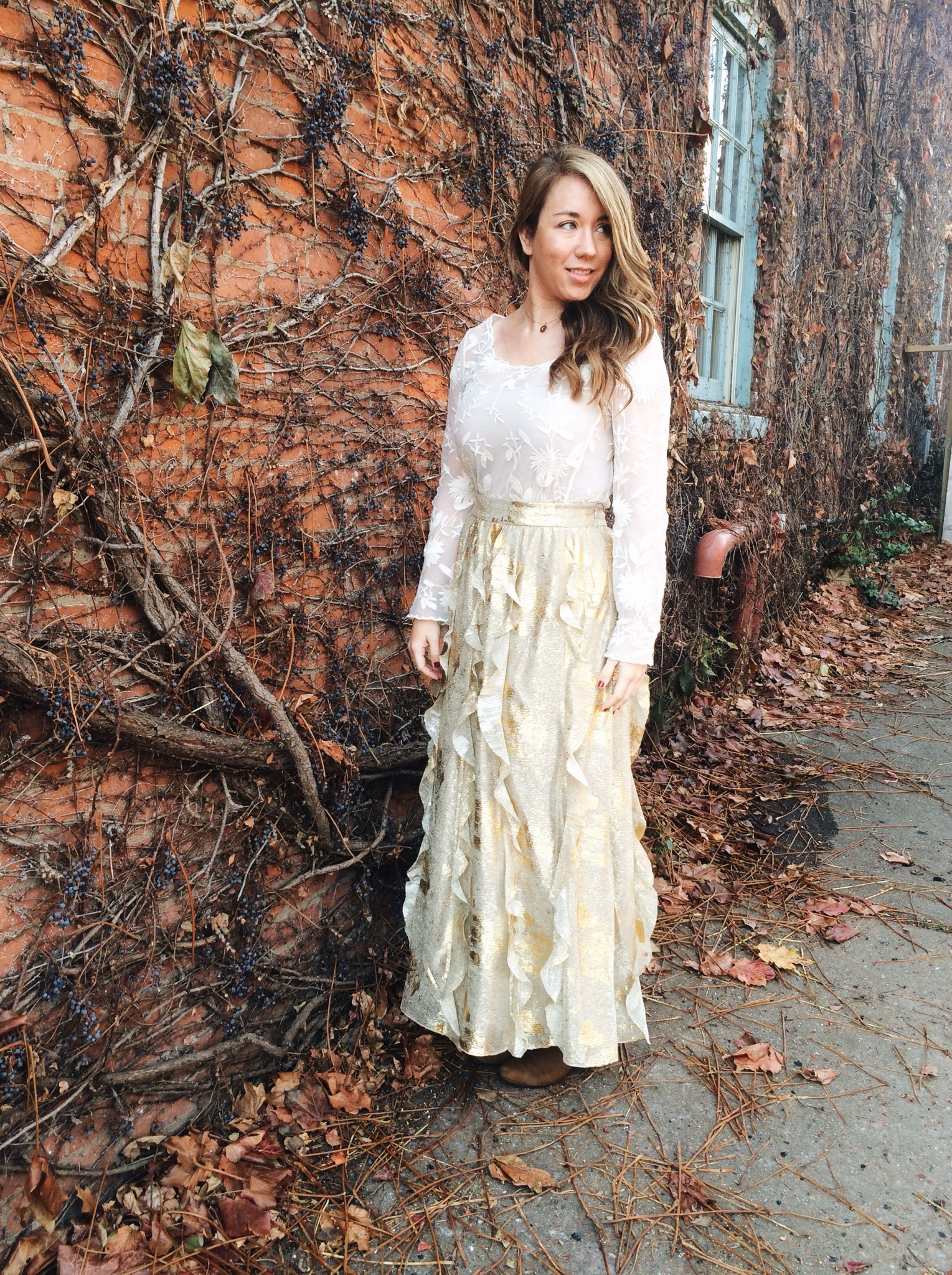 Ootd Anthropologie Snowblossom Blouse And Fallen Star Maxi Skirt